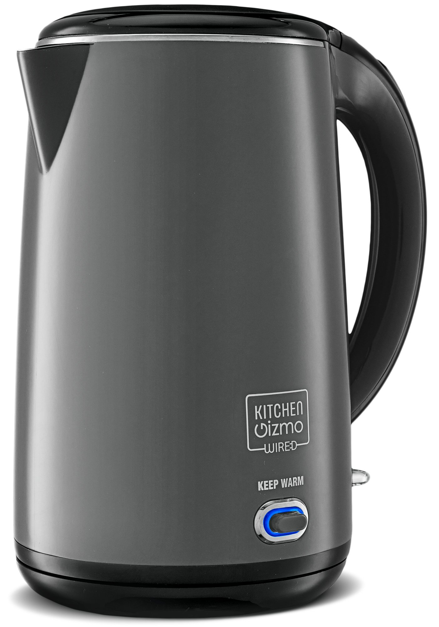 Kitchen Gizmo Stainless Steel Double-Walled Electric Kettle (Grey)
