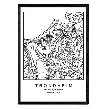 Nacnic Imprimer Carte Trondheim Style Scandinave En Noir Et