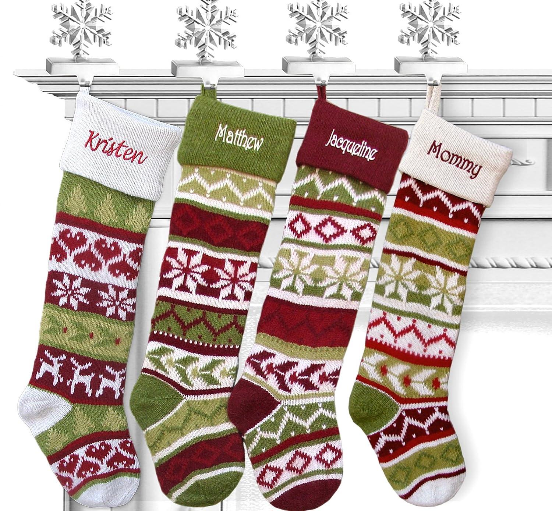Amazon.com: SET OF 4 Knit Christmas Stockings Fair Isle Design 28 ...
