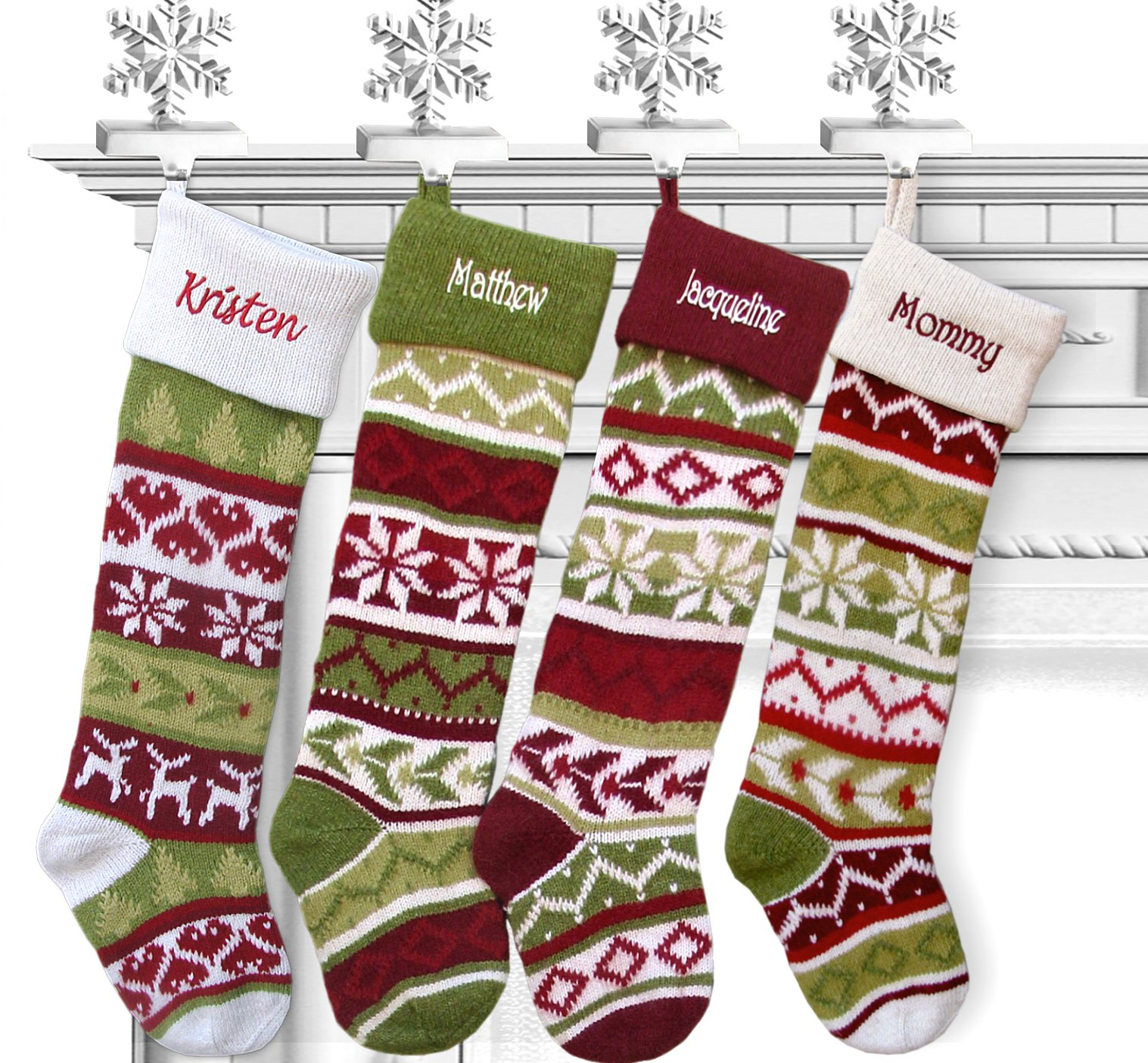 SET OF 4 Knit Christmas Stockings Fair Isle Design 28'' Personalized - CHOOSE YOUR DESIGNS - Embroidered with Your Names