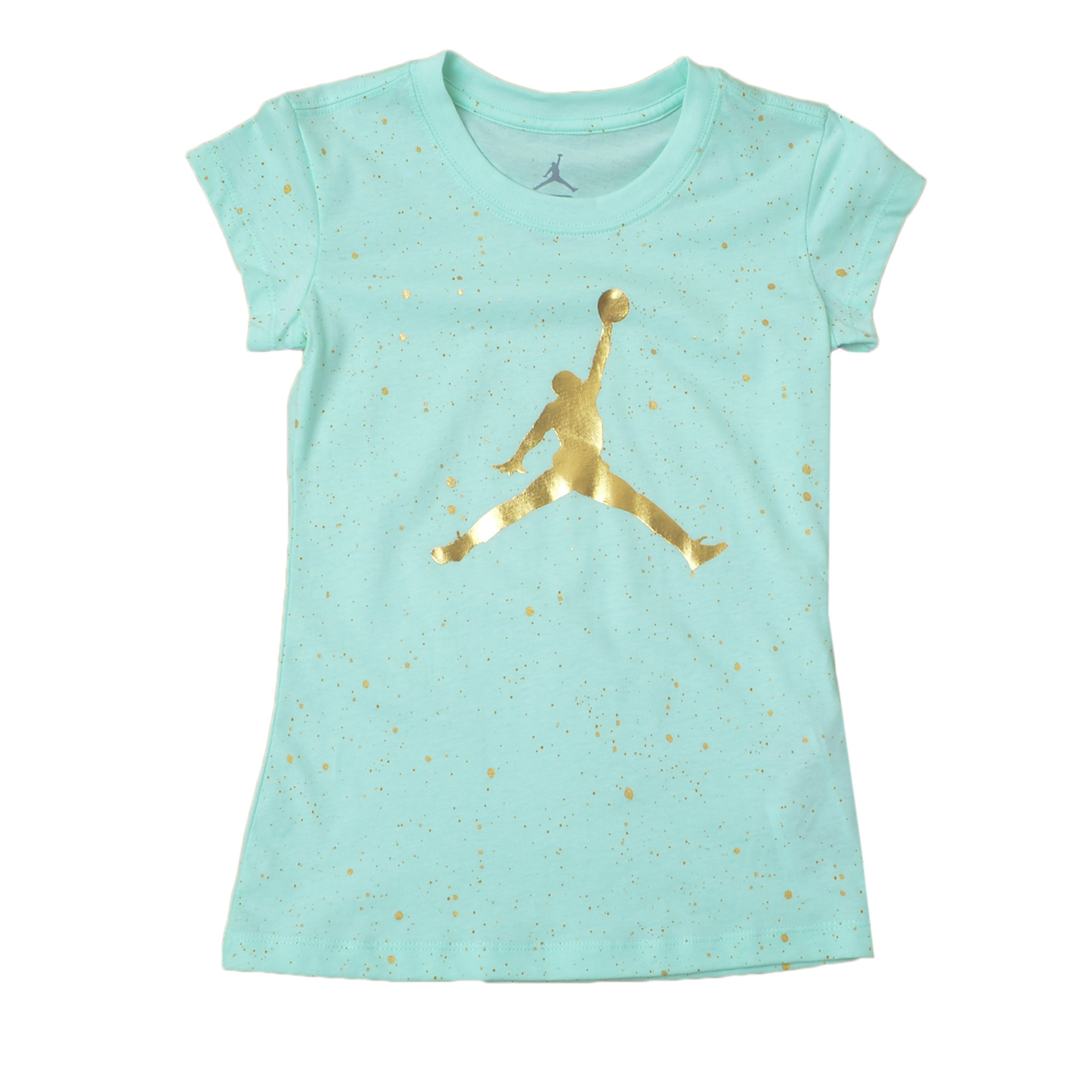 NIKE Jordan Big Girl's AOP Speckle Short-Sleeve Tee (M((10-12YRS), Mint Foam)