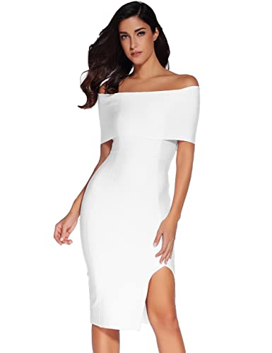 Meilun Womens Off Shoulder Split Elegant Bandage Party Bodycon Dress