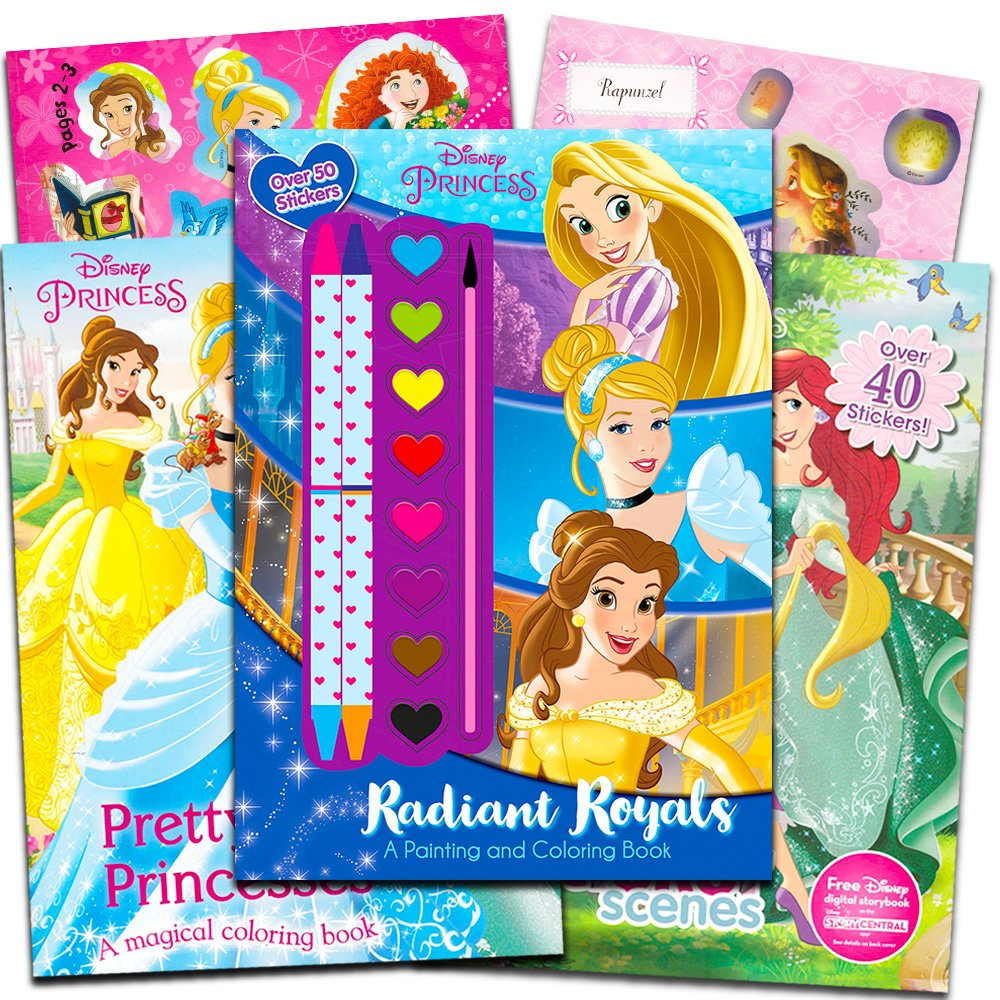 3 Disney Princess Books with Stickers Party Supplies Parragon Books Ltd Paint and Crayons Disney Princess Coloring Book Super Set
