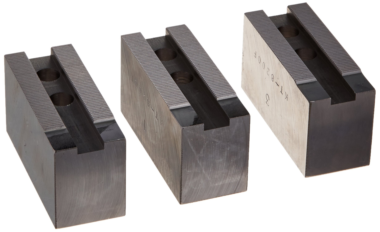 USST KT-8200F Steel Flat Soft Chuck Jaws for 8'' CNC Lathe Chucks, 2'' Tall (Set of 3 Pieces)