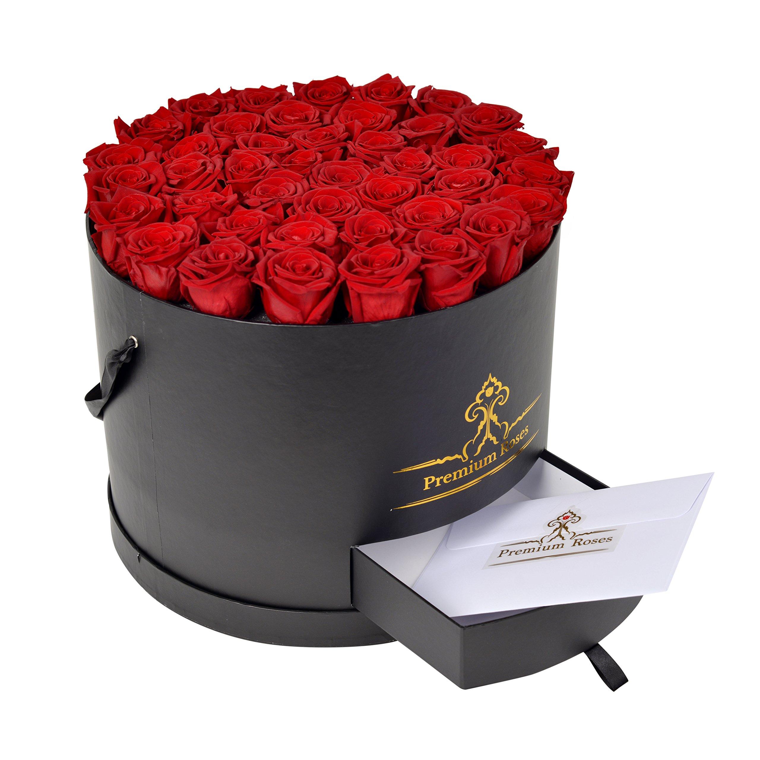 Premium Roses| Model Black| Real Roses That Last 365 Days| Fresh Flowers (Black Box, Large)