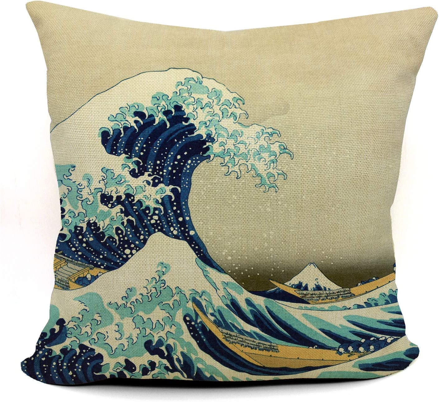 Mancheng-zi Great Wave of Kanagawa Katsushika Throw Pillow Case, Gift for Daughter, Sister, Wife, Girl's Room Decoration, Girl College Dorm Decor, 18 x 18 Inch Linen Cushion Cover for Sofa Couch Bed