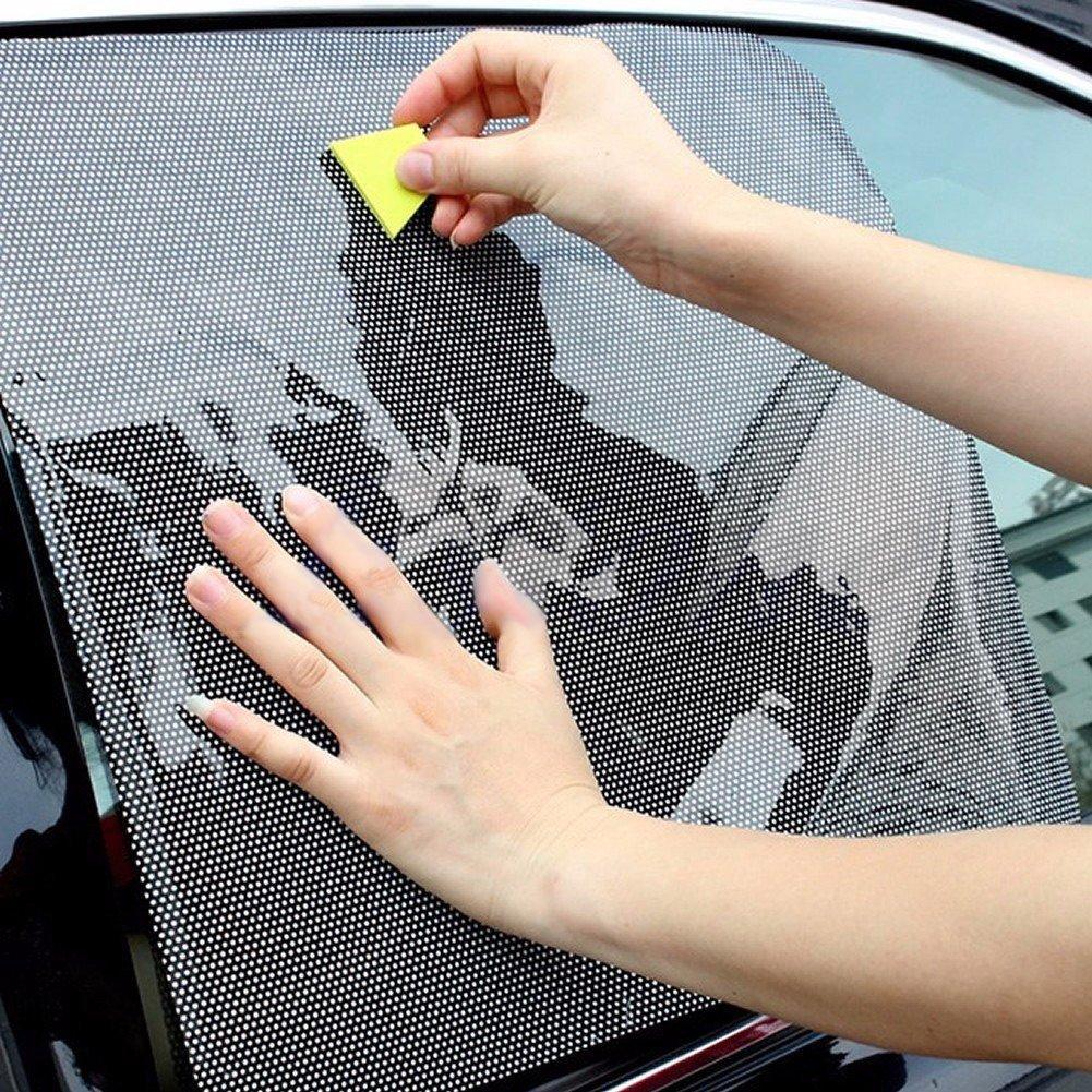 nero Demiawaking AutoCare accessori per auto da interno parasole statico schermo protettivo che permette la visione 2 pezzi parasole per finestrini posteriori laterali