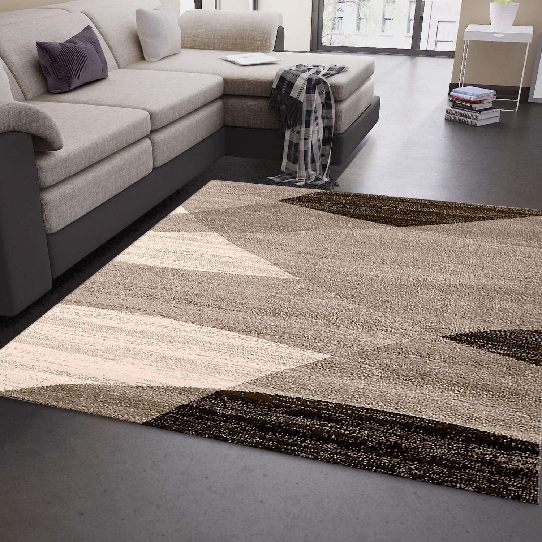 VIMODA Moderner Wohnzimmer Teppich Geometrisches Muster Meliert in Braun Beige - ÖKO TEX Zertifiziert, Maße 200x280 cm