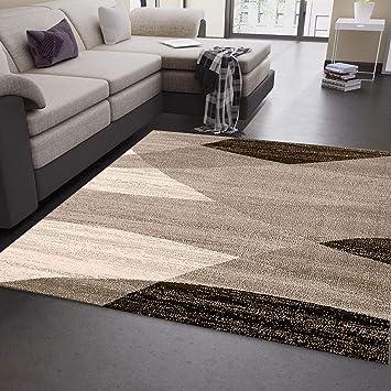 Moderner Wohnzimmer Teppich Geometrisches Muster Meliert in Braun Beige  80x150 cm