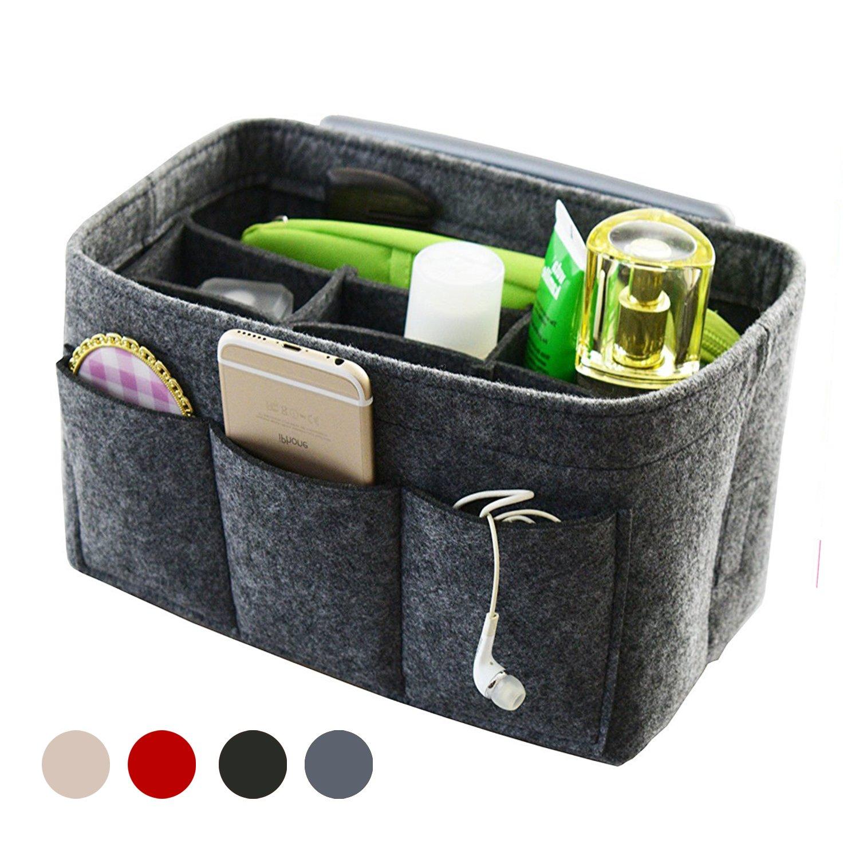 Handbag Organizer Bag Purse Insert Bag in Bag Felt Fabric MultiPocket Liner Organizer Tote Travel (Medium, Gray)