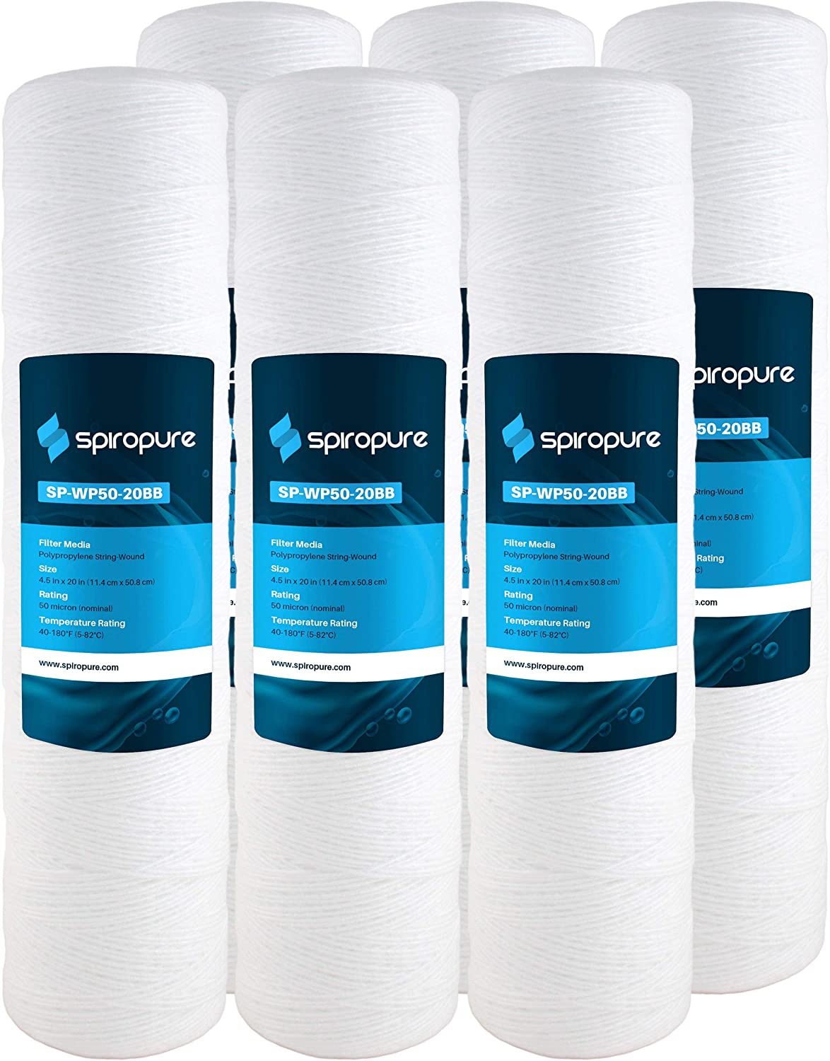 SpiroPure Replacement for Aqua-Pure AP814-2 20x4.5 Water Filters 6 Pack