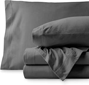 Bare Home Jersey Sheet Set, Ultra Soft, 100% Cotton - Breathable - Deep Pocket (Split King, Grey)