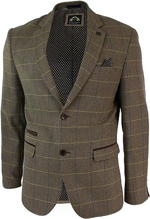 Mens Light Brown Herringbone Tweed Vintage Slim Fit Blazer Smart Casual Jacket