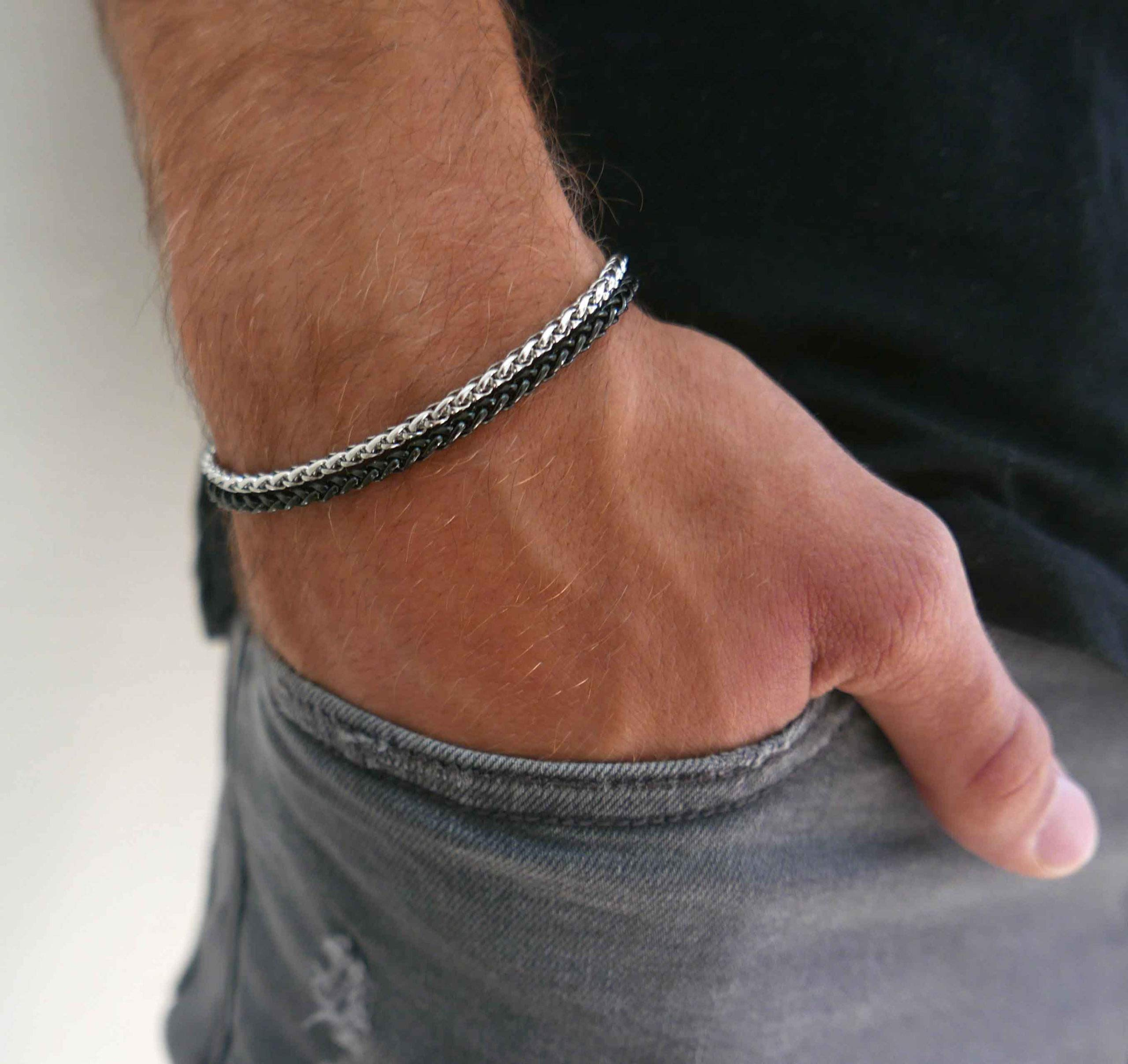 """Handmade Cuff Chain Bracelet For Men Made Of Stainless Steel By Galis Jewelry - Silver Bracelet For Men - Cuff bracelet For men - Jewelry For Men - Fits 7""""-8"""" Wrist Sizes"""