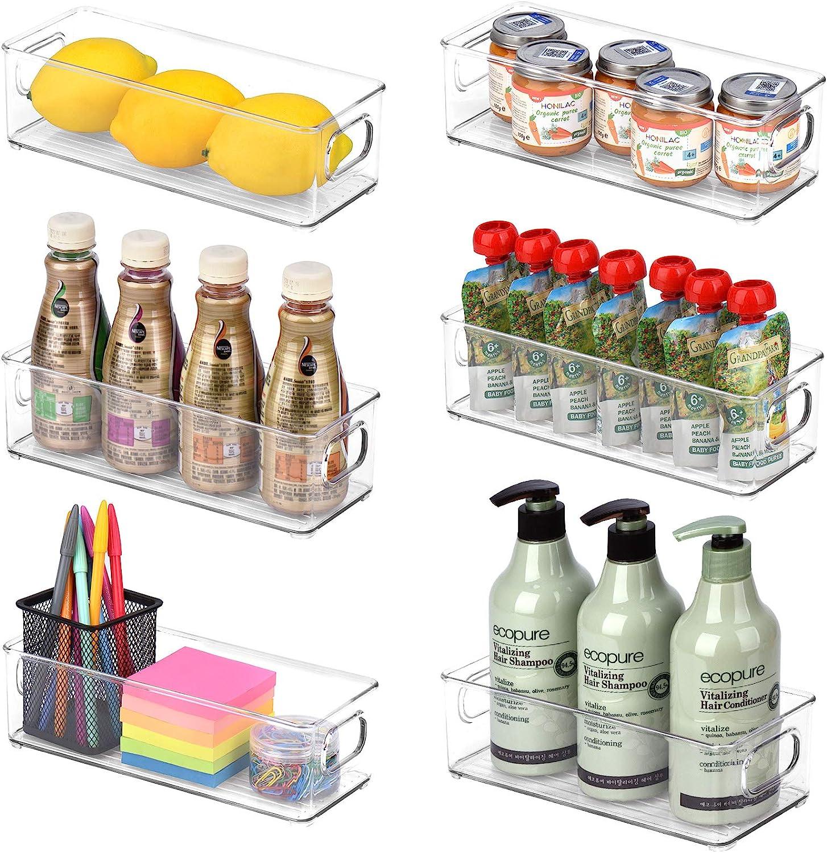 Toplife Refrigerator Organizer Bins, Stackable Plastic Fridge Storage Bins with Handle for Kitchen, Pantry, Freezer, Countertops, Cabinets - Set of 6 (10.0 x 3.9 x 3.0 Inch)
