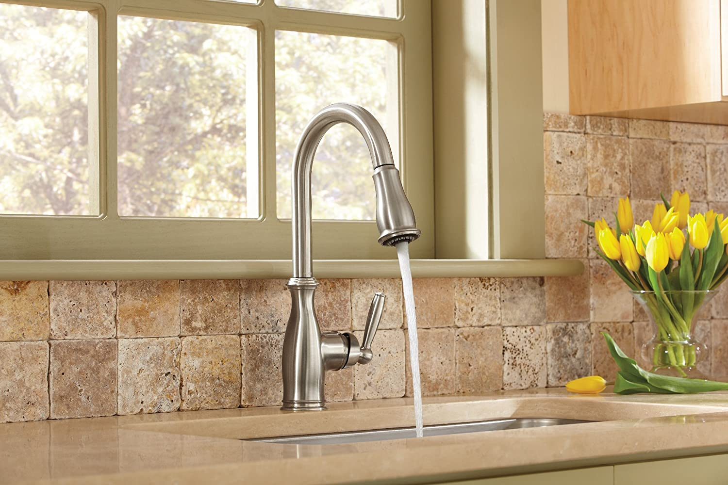 Motionsense Kitchen Faucet Moen 7185srs Brantford One Handle High Arc Pulldown Kitchen Faucet