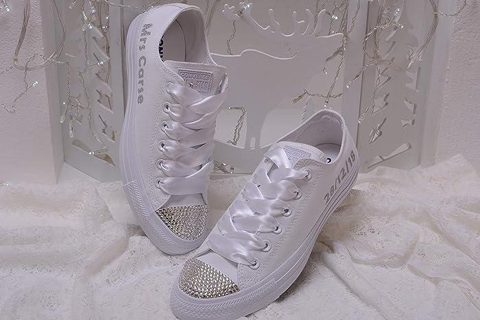 6292eb04b8da Amazon.com  Bling White Monogrammed Wedding Sneakers For Bride ...