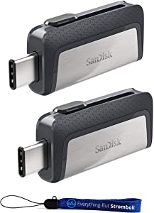 SanDisk Ultra 256GB (Two Pack) Dual Drive USB Type-C (SDDDC2-256G-G46) with Everything But Stromboli (TM) Lanyard