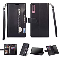Gostyle Case for Samsung Galaxy A50,Flip Wallet Case Black with 9 Credit Card Holders Slots,Premium Leather Magnetic Stand Cover with Zipper Pocket and Hand Strap