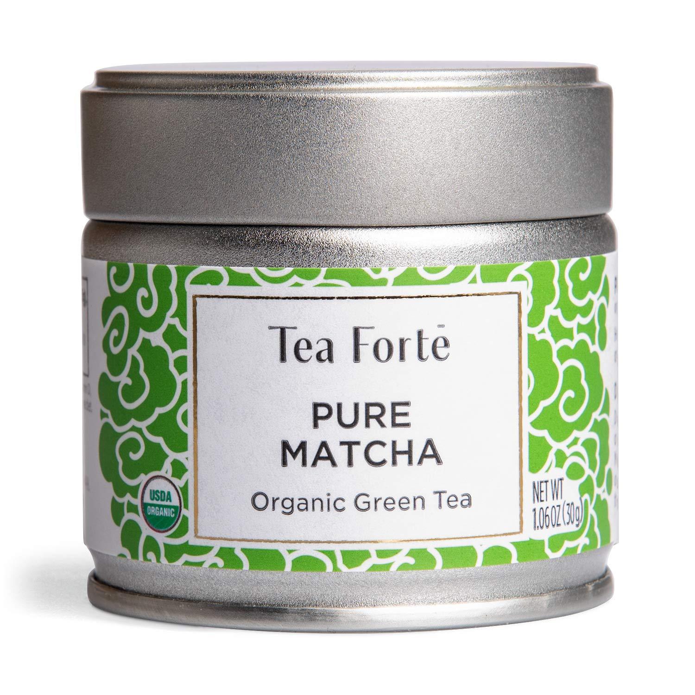 Tea Forte Organic Matcha Green Tea Powder, For Hot or Cold Matcha Tea or Latte 1.06 oz Canister (12 Servings), Pure Matcha