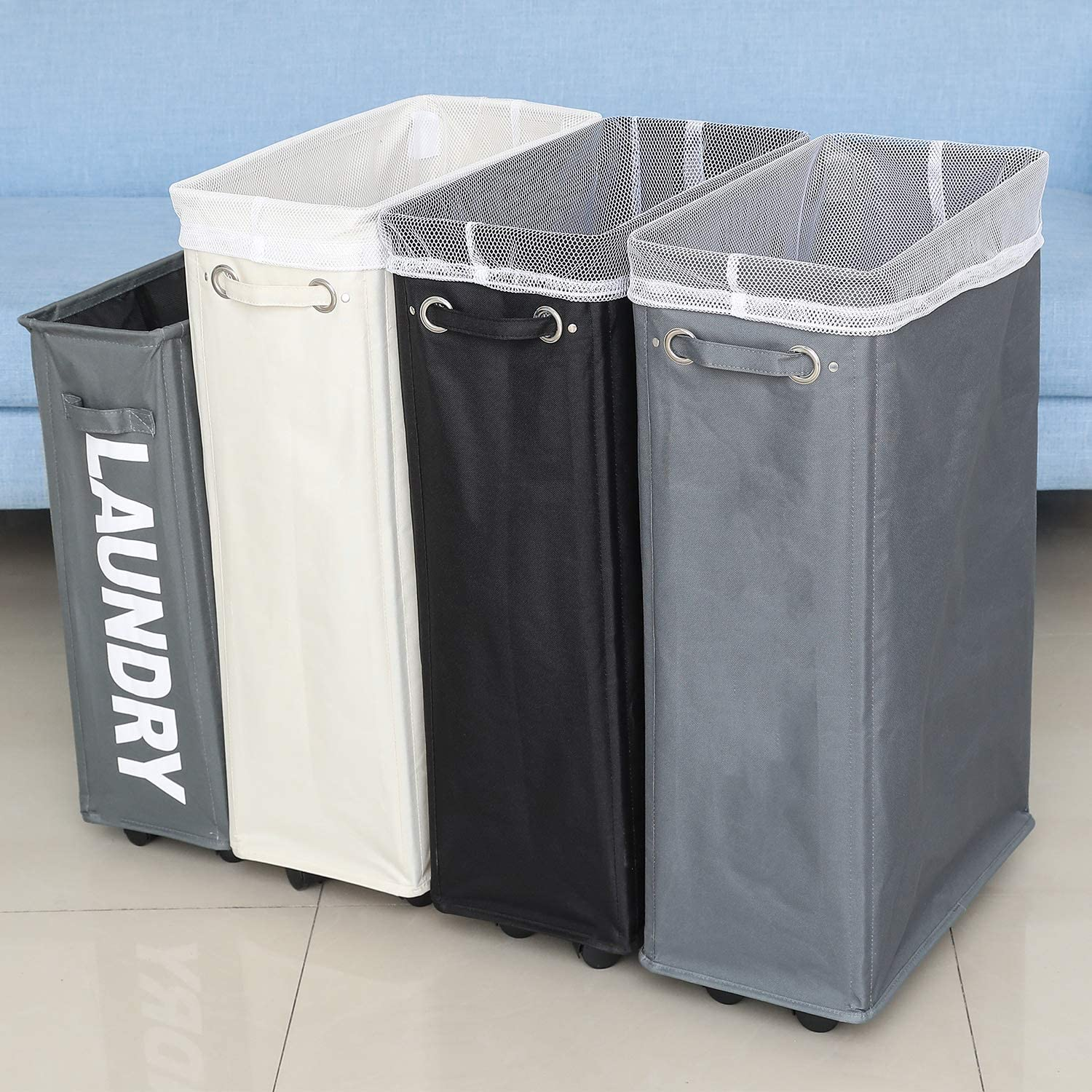 Rolling Laundry Basket Collapsible Tall Slim Laundry Hamper with Washable /& Breathable Mesh Liner Waterproof /& Dustproof Laundry Cart on Wheels Caroeas Laundry Hamper Black