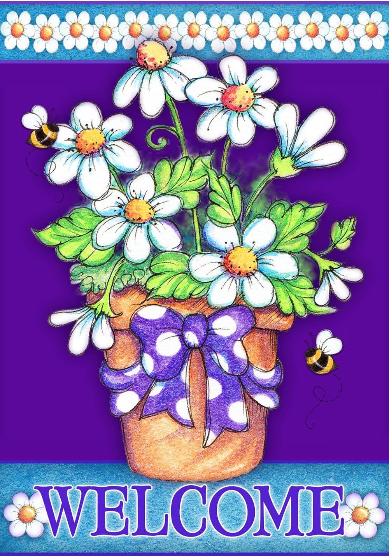 Toland Home Garden Daisy Welcome 12.5 x 18 Inch Decorative Cute Spring Flower Bee Garden Flag