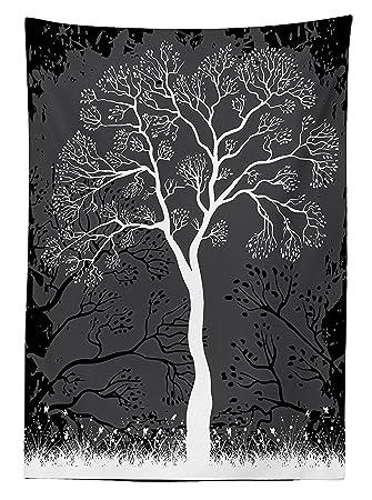 Amazonグレー 装飾 テーブルクロス 芸術的 木のイラスト 成長する枝