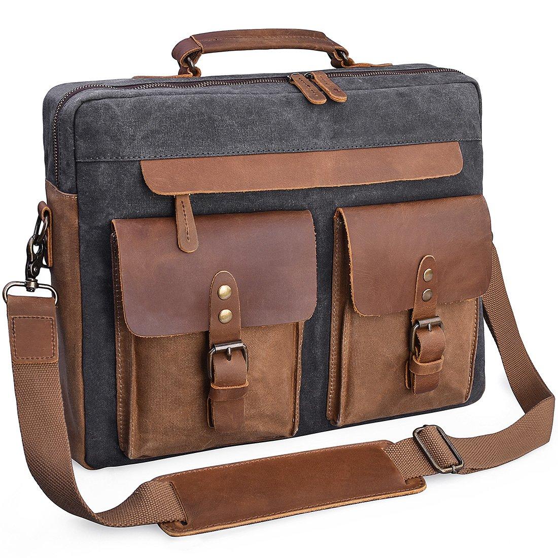 Mens Messenger Bag 15.6 Inch Vintage Genuine Leather Briefcase Waterproof Waxed Canvas Laptop Computer Bag Large Leather Satchel Shoulder Bag Grey