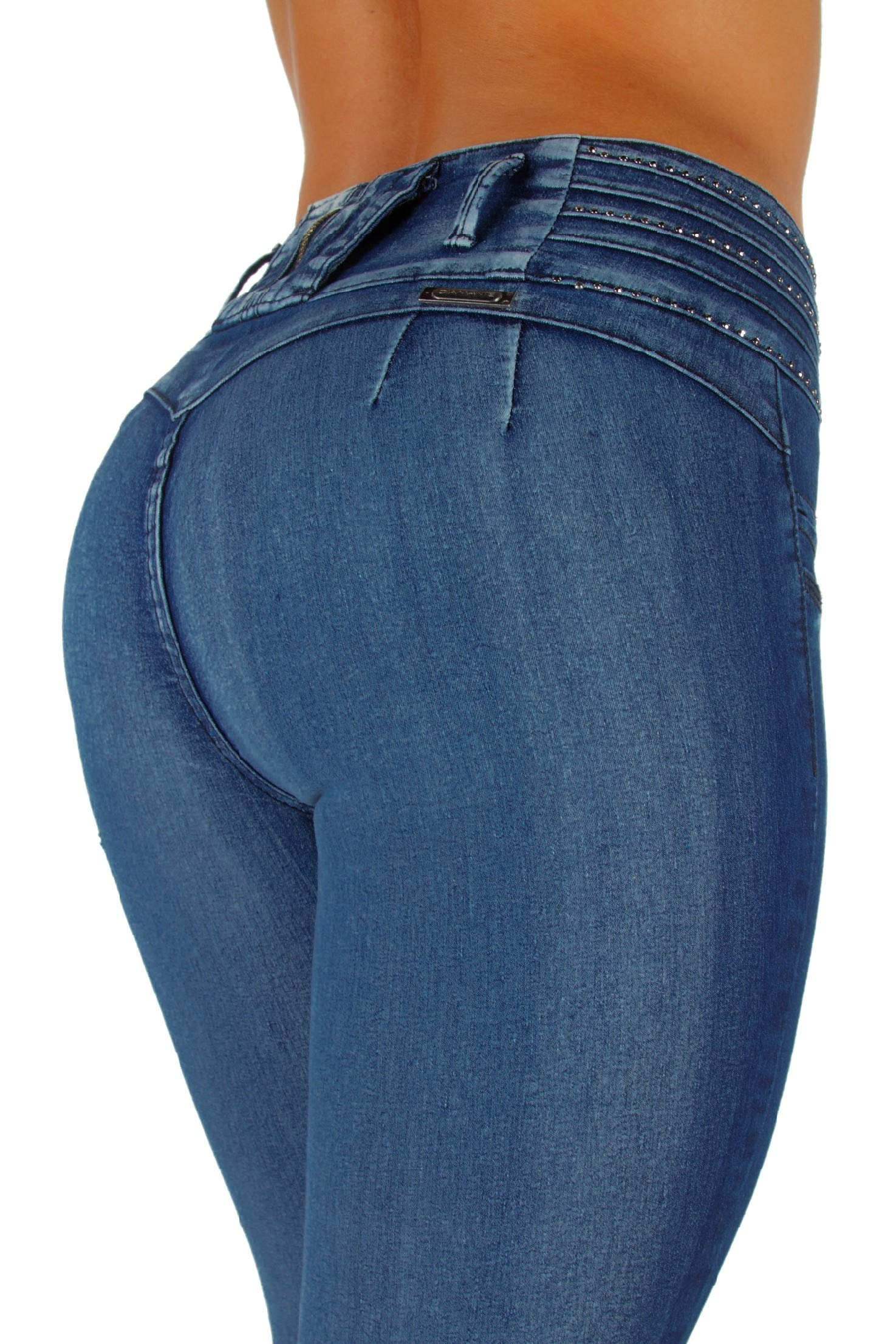 Style K064– Colombian Design, Mid Waist, Butt Lift, Levanta Cola, Skinny Jeans in Washed Blue Size 5