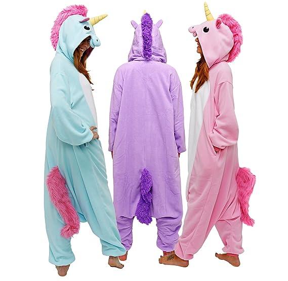 Adult Unisex Blue Unicorn Animal Kigurumi Onesies Pajamas Cosplay Birthday Party Wear