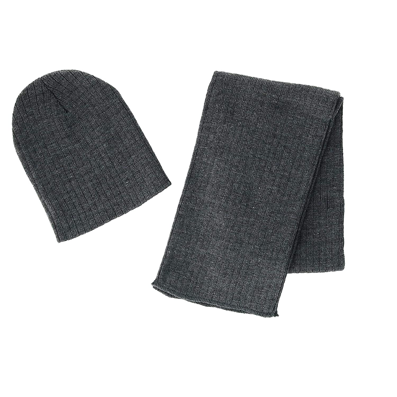 CTM Boy's 4-7 Solid Ribbed Slouchy Beanie Hat with Scarf Set Black RG-K2282-BLK