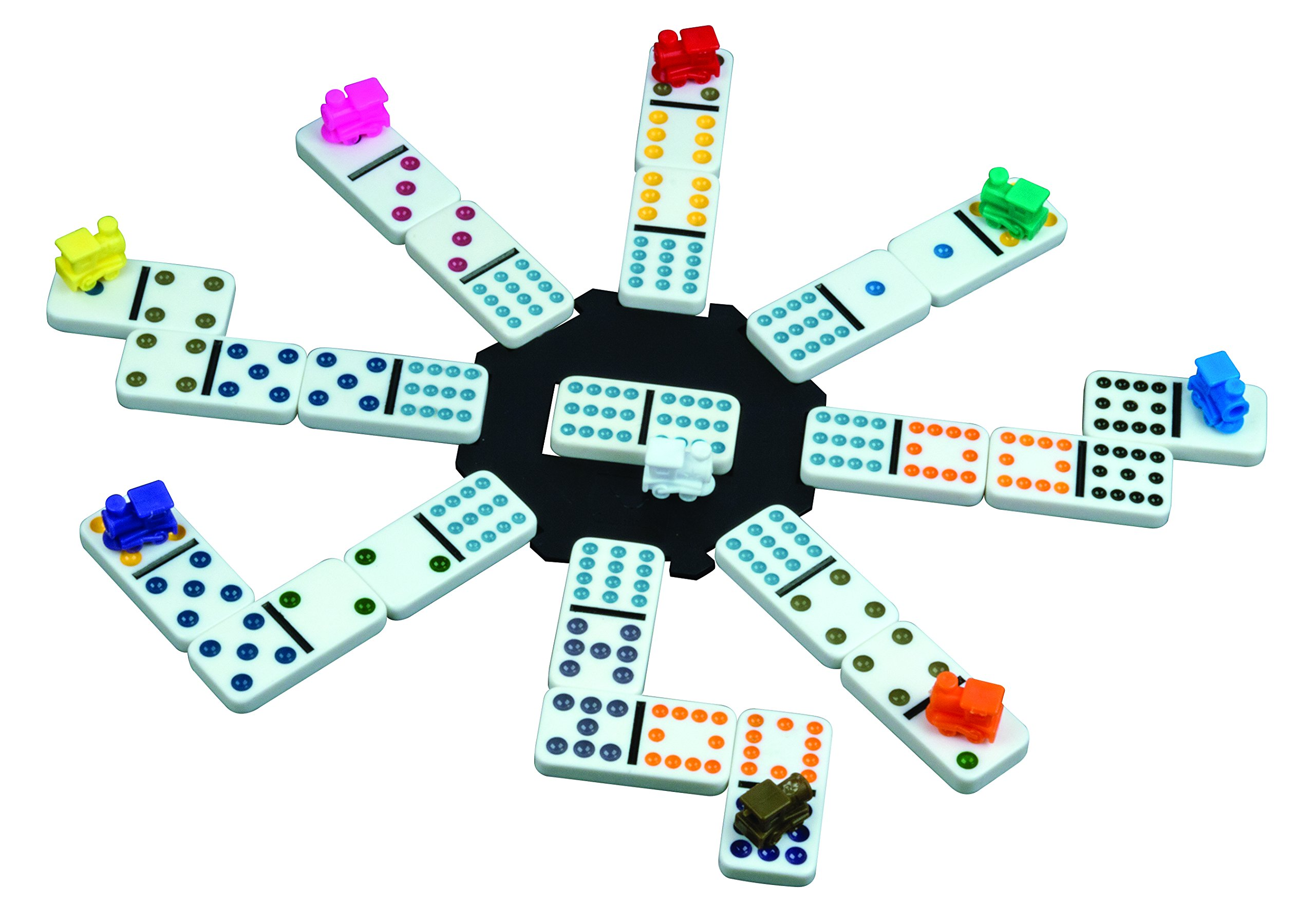 Cardinal Mexican Train Domino Game with Aluminum Case by Cardinal Industries