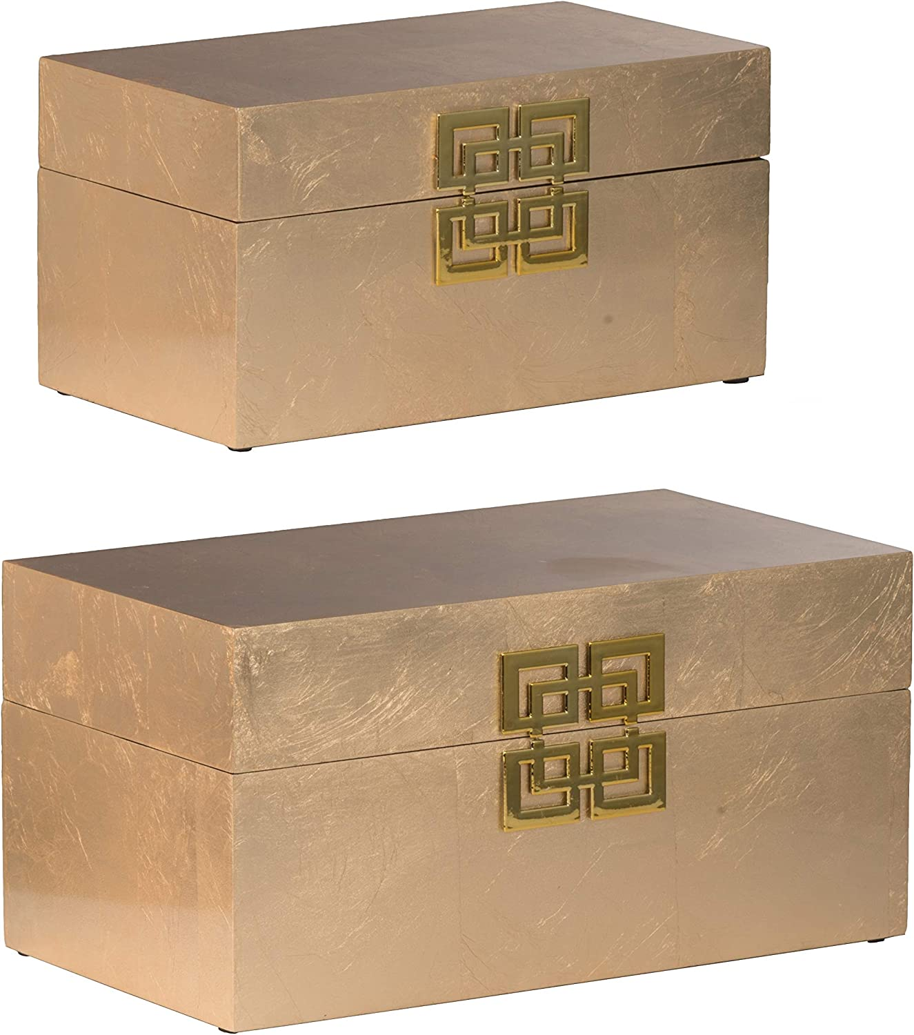 A B Home Decorative Box Set Of 2 Iron Gold Dimensions 11 4l X 6 3w X 6h Inches Amazon Co Uk Kitchen Home