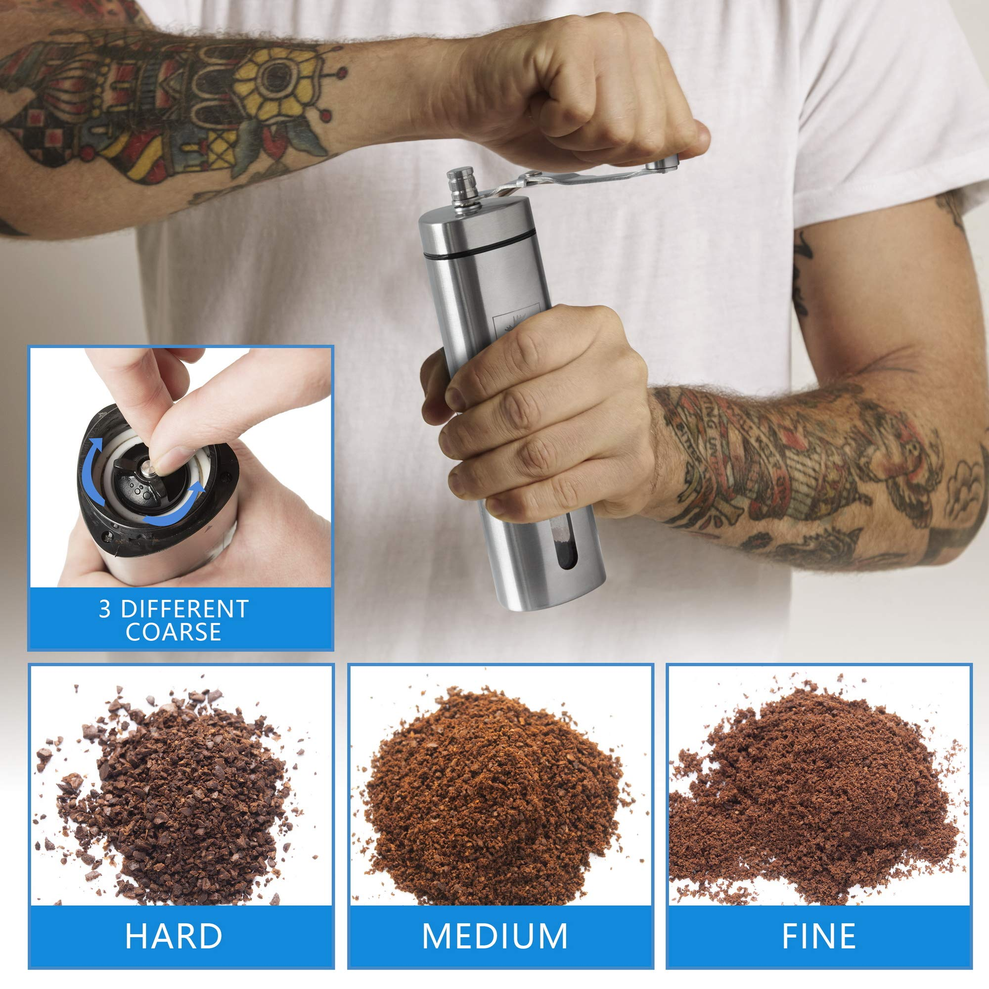 Manual Coffee Grinder by Mainland (Hand Held) Adjustable Fine, Medium, Coarse Grounds | Ceramic Burr Mill for Whole Bean Grinding | Home Kitchen, Office, Travel by Mainland (Image #3)