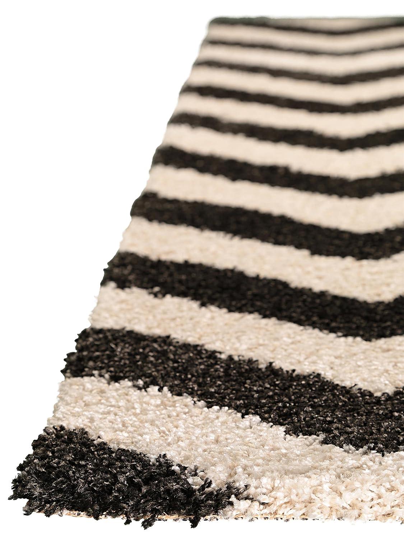 Benuta Shaggy Hochflor Teppich Graphic Zick Zack Grau 80x150 cm cm cm   Langflor Teppich für Schlafzimmer und Wohnzimmer B00K3FFY4Y Teppiche b91cce