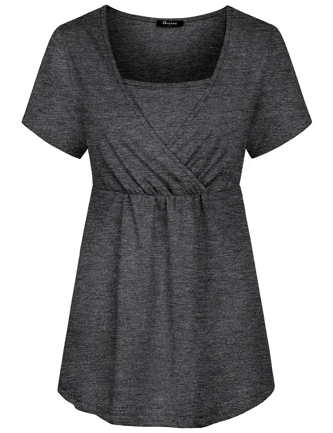 Quinee Nursing Shirts, Short Sleeve Nursing T Shirts for Women Breastfeeding Shirts Summer V Neck Cutest Maternity Shirts Clothes Plus Size Gray Large Breathable Layered Nursing Tops for Leggings by Quinee