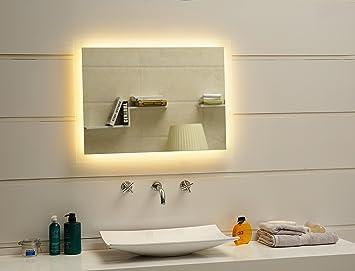 Dr. Fleischmann Badspiegel LED Spiegel GS084N Mit Beleuchtung Durch  Satinierte Lichtflächen Badezimmerspiegel (80 X