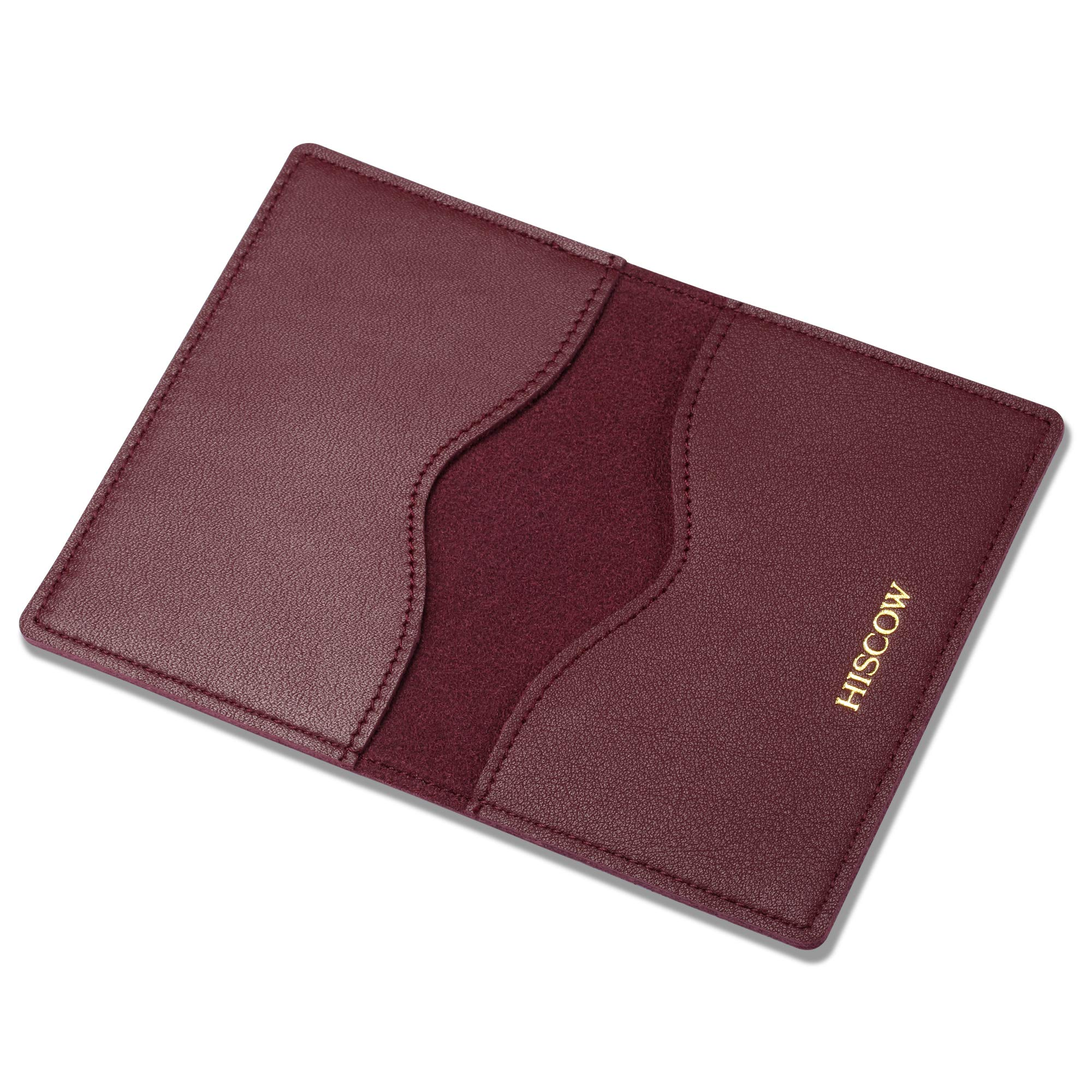 HISCOW Minimalist Thin Bifold Card Holder - Italian Calfskin (Bordeaux) by HISCOW (Image #8)