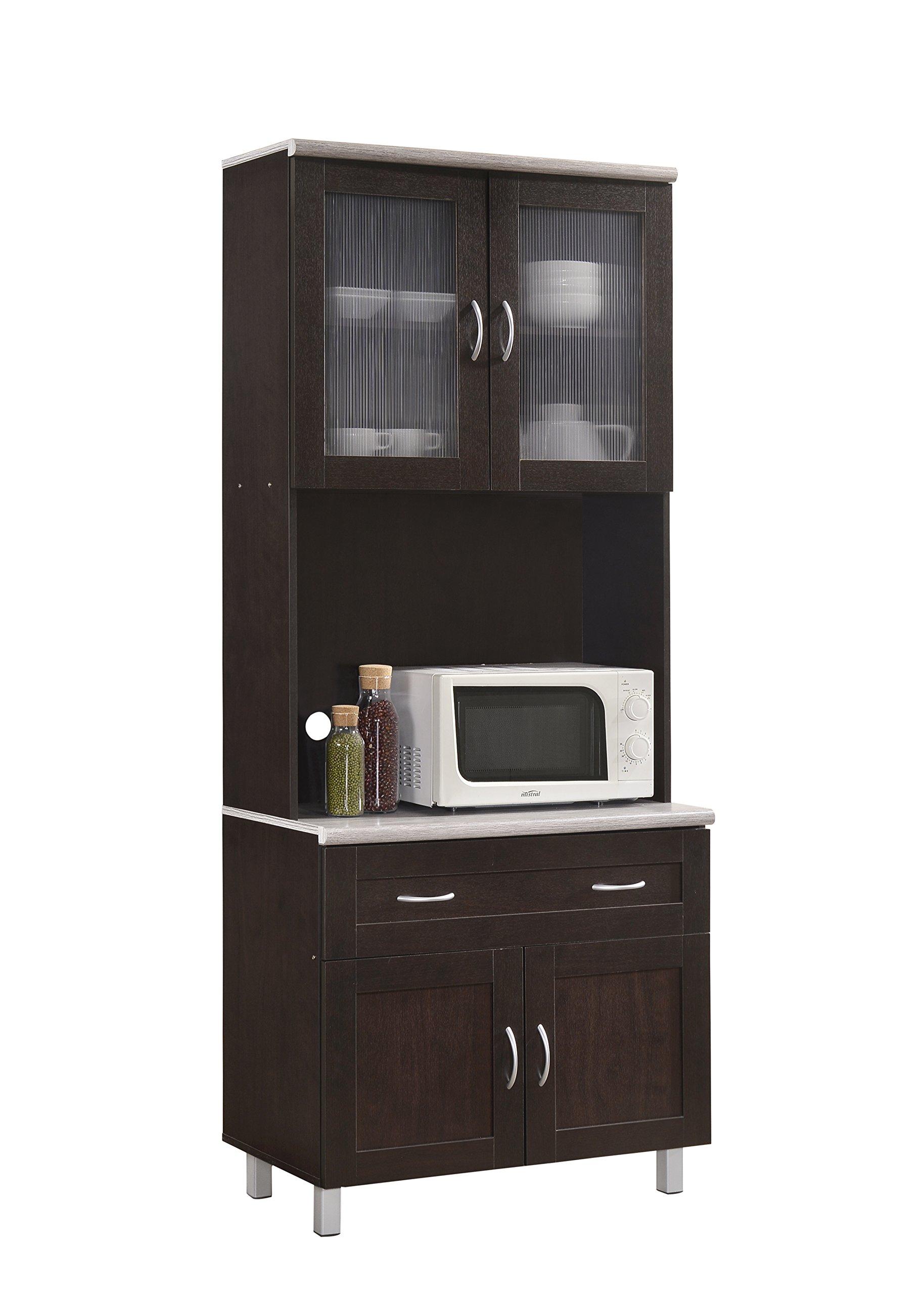 Hodedah HIK92 Choco-Grey Kitchen Cabinet, Chocolate