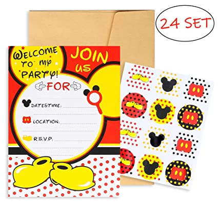 Pantide 24pcs Mickey Minnie Mouse Party Invitation Cards With Mickey Mouse Stickers And Envelopes Double Sided Fill In Blank Cards For Kids Birthday