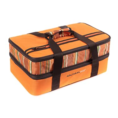 Rachael Ray Expandable Lasagna Lugger, Double Casserole Carrier for Potluck Parties, Picnics, Tailgates - Fits two 9 x13  Casserole Dishes, Orange