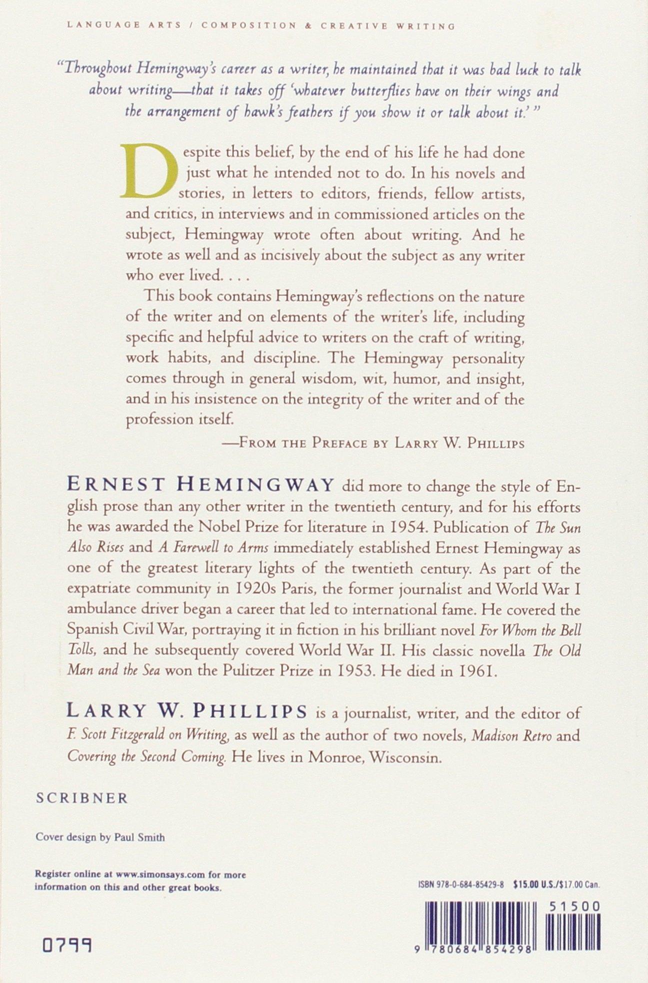 ernest hemingway on writing co uk ernest hemingway larry ernest hemingway on writing co uk ernest hemingway larry w phillips 8601404695179 books