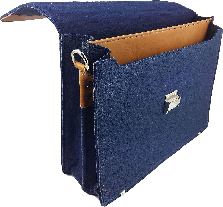Navy Blue Venetto Business Bag Shoulder Bag A4 Briefcase Work Bag Handbag Mens Ladies Felt Bag Felt with Genuine Leather Elements for 13MacBook Notebook Laptop