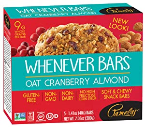 Pamela's Products Gluten Free Whenever Bars, Cranberry Almond, 5 Count Box, 7.05-Ounce (Pack of 6)