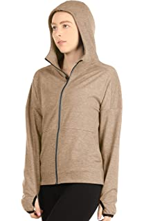 Due East Apparel Womens Light Weight Sports Jacket Performance Track Full Zip Workout Hoodie