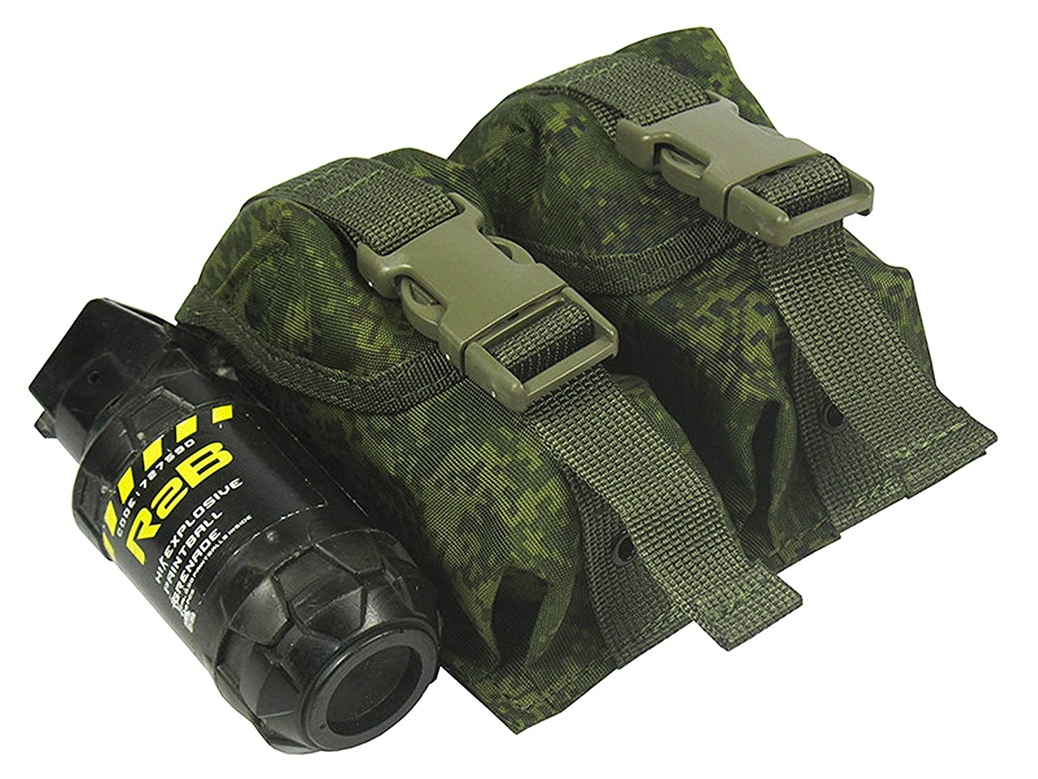 black MOLLE tactical POUCH DOUBLE UNDER TWO GRENADES