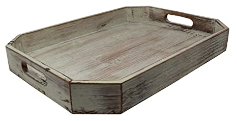 Phenomenal Decorative Vintage Wood Serving Tray For Coffee Table Or Ottoman Rustic Chamfered Breakfast Tray Perfect Trays For Kitchen Dining Room Or Living Bralicious Painted Fabric Chair Ideas Braliciousco