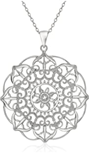 Amazon sterling silver filigree circle pendant necklace 18 sterling silver large filigree flower pendant necklace 18 mozeypictures Images