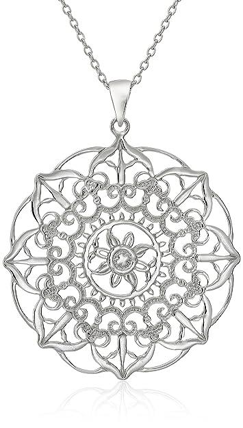 amazon com sterling silver large filigree flower pendant necklace