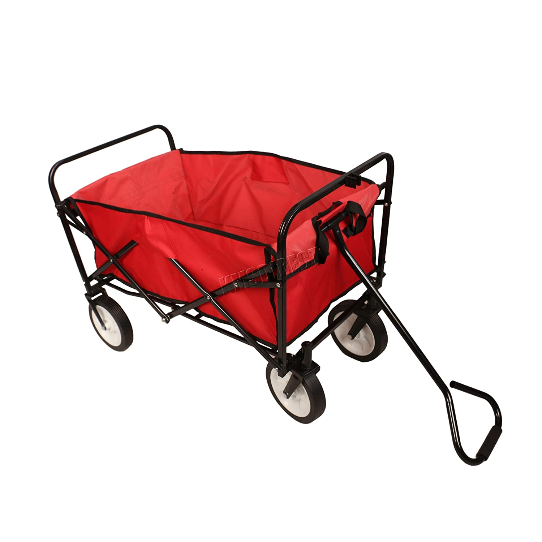 FoxHunter Foldable Outdoor Garden Trolley Pull Along Wheelbarrow Trailer Hand Cart Transport Wagon 600D Waterproof Fabric Plastic Wheels GTF01 Red